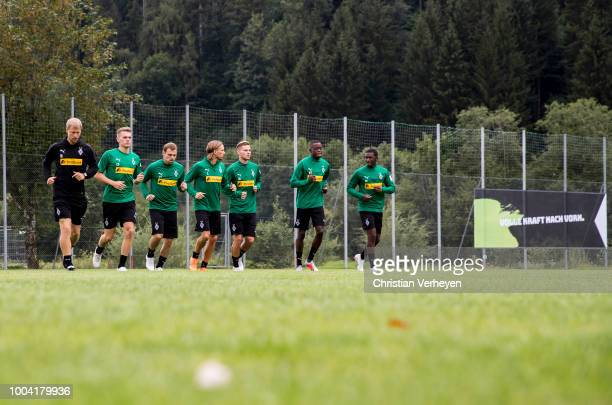 The Team run during a Training Session at Borussia Moenchengladbach Training Camp at Stadion am Birkenmoos on July 23, 2018 in Rottach-Egern, Germany.