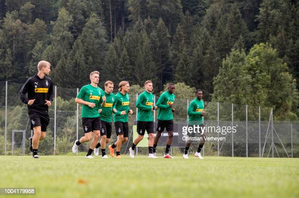 The Team run during a Training Session at Borussia Moenchengladbach Training Camp at Stadion am Birkenmoos on July 23 2018 in RottachEgern Germany