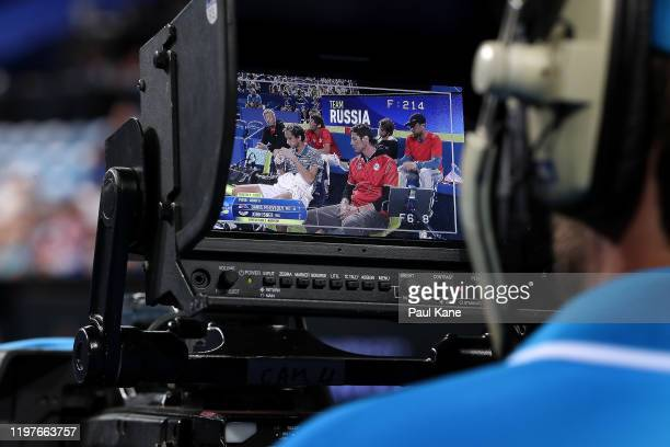 The Team Russia bench is seen in the monitor of a broadcast camera during day three of the 2020 ATP Cup Group Stage at RAC Arena on January 05 2020...