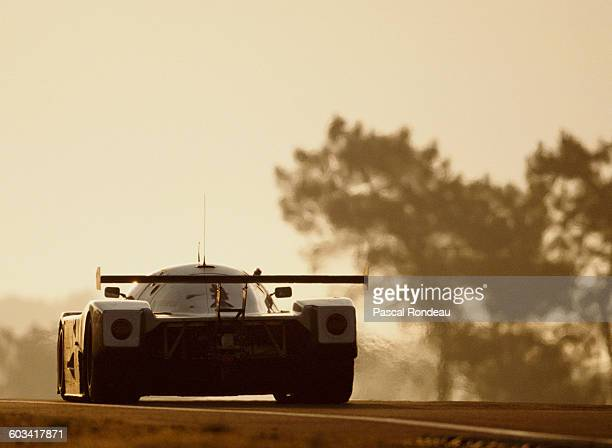 The Team Sauber Mercedes C9 MercedesBenz V8 driven by Jochen Mass Manuel Reuter and Stanley Dickens greets the sunrise under the Dunlop Bridge on...