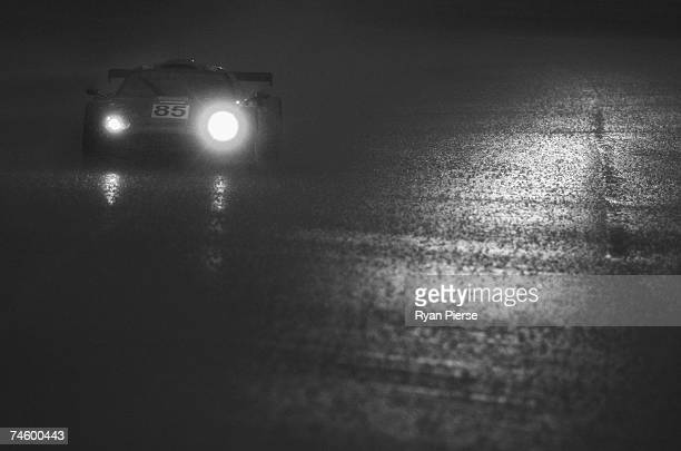The Team Spyker car of Andrea Chiesa of Switzerland Alex Caffi of Italy and Andrea Belicchi of Italy drives the rain during the second qualifying...