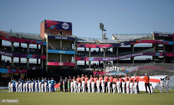 The team stand for the national anthems ahead of the ICC World Twenty20 India 2016 Group 1 match between England and Afghanistan at Feroz Shah Kotla...