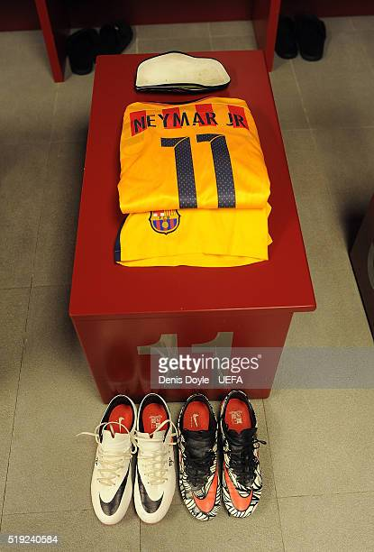 The team uniform of Neymar of FC Barcelona is readied at the team dressing room ahead of the UEFA Champions League Quarter Final First Leg match...