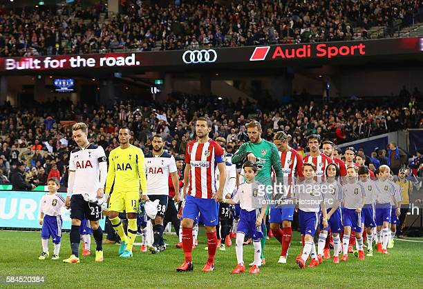 The team walk out for the 2016 International Champions Cup Australia match between Tottenham Hotspur and Atletico de Madrid at Melbourne Cricket...