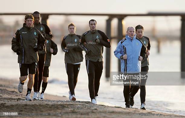 The team warm up on the beach during the Training Camp of Werder Bremen at the Rixos Hotel on January 9, 2008 in Belek, Turkey.