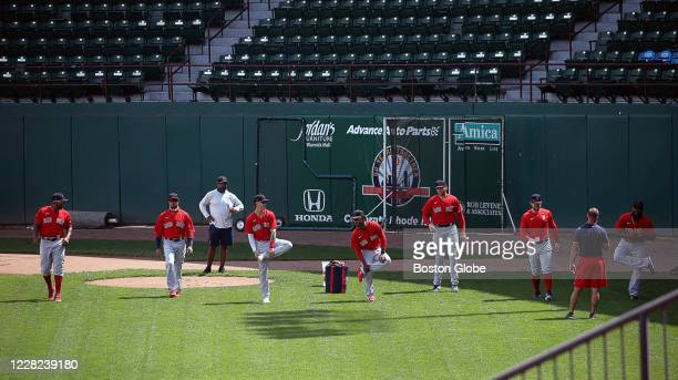 The team warms up. The Boston Red Sox Taxi Squad trains at McCoy Stadium in Pawtucket, RI on Aug. 27, 2020.
