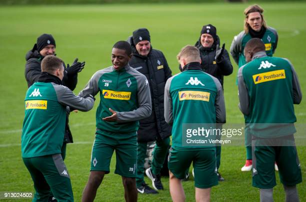 The Team welcomes Mamadou Doucoure during a training session of Borussia Moenchengladbach at BorussiaPark on February 01 2018 in Moenchengladbach...