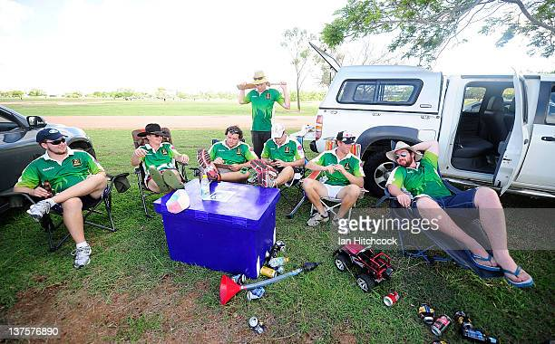 The team 'Wolf Pack' relax in the shade after the end of the second match during the 2012 Goldfield Ashes cricket competition on January 21 2012 in...