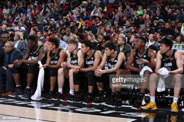 The Team World bench looks on during the game against Team USA during the Nike Hoop Summit on April 13 2018 at the MODA Center Arena in Portland...