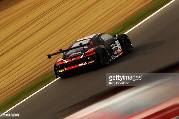 The Team WRT Audi R8 of Rodrigo Baptista and Sergio Jimenez drives during qualifying for the Blancpain GT Series Sprint Cup at Brands Hatch on May 7...