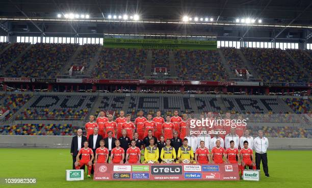 The teamplayers of Bundesliga soccer club Fortuna Duesseldorf pose for a team picture in Duesseldorf Germany 27 June 2013 First row from front...