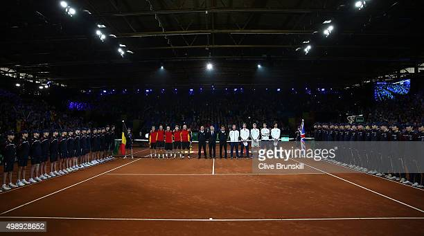The teams and officials are presented to the spectators prior to the singles matches on day one of the Davis Cup Final 2015 at Flanders Expo on...