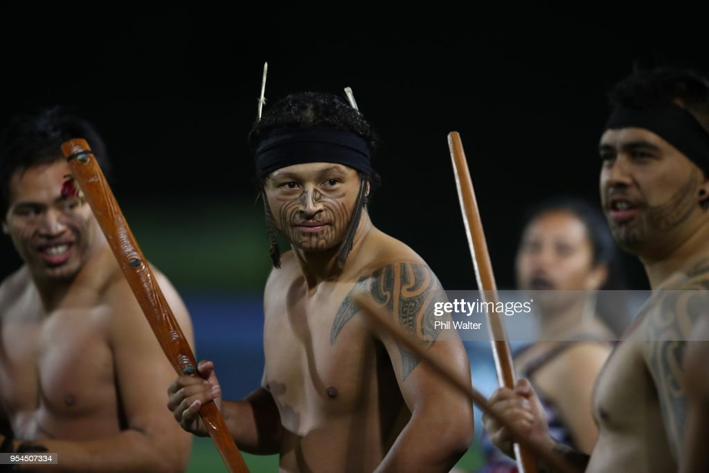 The teams are greeted with a cultural welcome during the round 12 Super Rugby match between the Chiefs and the Jaguares at Rotorua International Stadium on May 4, 2018 in Rotorua, New Zealand.