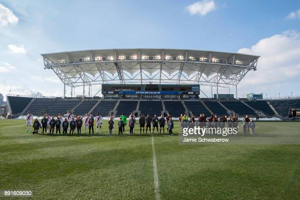 The teams are introduced prior to the Division I Men's Soccer Championship held at Talen Energy Stadium on December 10 2017 in Philadelphia...