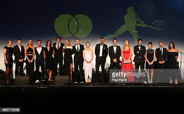 The teams are presented on stage during the Hopman Cup New Year's Eve Gala at teh Crown Perth on December 31 2016 in Perth Australia
