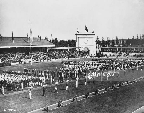 The teams assemble for the opening ceremony of the 1920 Summer Olympics in Antwerp, Belgium, 14th August 1920.