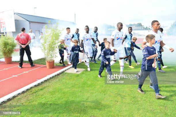 The teams come out for the preseason friendly match for the Trophee des Normands between Caen and Le Havre on July 20 2018 in Vire France
