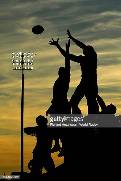 The teams contest a lineout during the 2015 Rugby World Cup Pool C match between Tonga and Namibia at Sandy Park on September 29, 2015 in Exeter,...