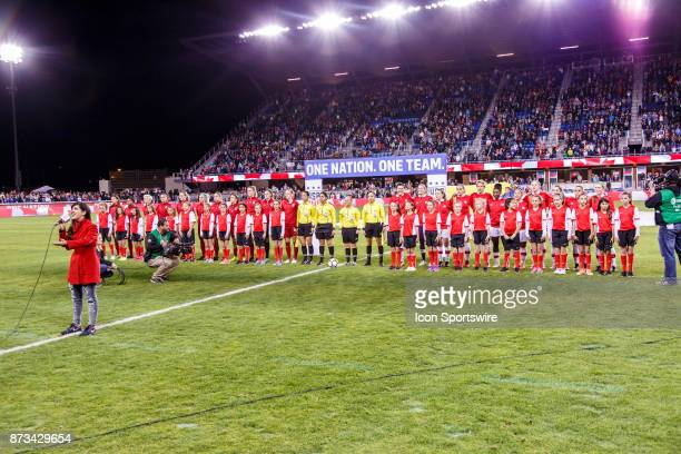 The teams during the National anthems before the international friendly game between US Women's National team and Canada Women's team held November...