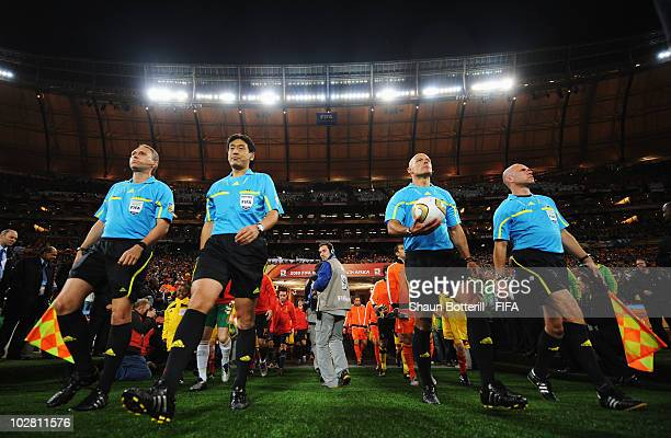 The teams enter the field before the 2010 FIFA World Cup South Africa Final match between Netherlands and Spain at Soccer City Stadium on July 11...
