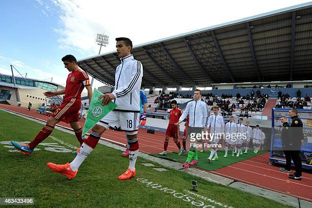 The teams enter the pitch during the U16 UEFA development tournament match between Germany and Spain on February 14 2015 in Vila Real de Santo...