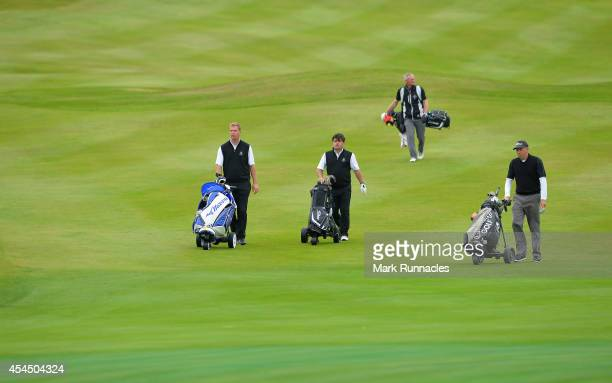 The teams from Panmure Golf Club and South Staffs Golf Club on the 15th fairway during the first round of the Lombard Trophy Grand Final at Gleneagls...