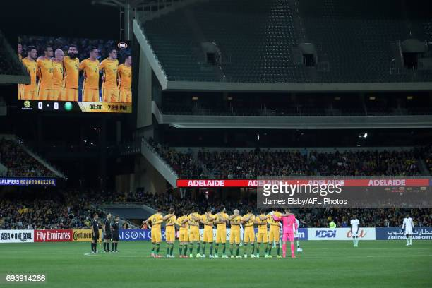 The teams have a minutes silence to honour those lost in the recent terrorist attacks during the 2018 FIFA World Cup Qualifier match between the...
