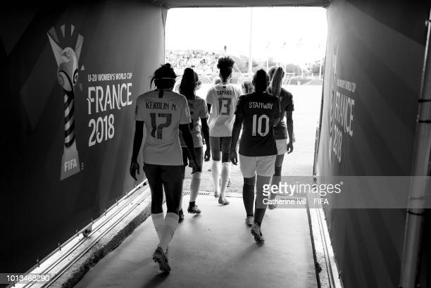 The teams in the tunnel before the FIFA U20 Women's World Cup France 2018 group B match between Brazil and England at Stade du Clos Gastel on August...