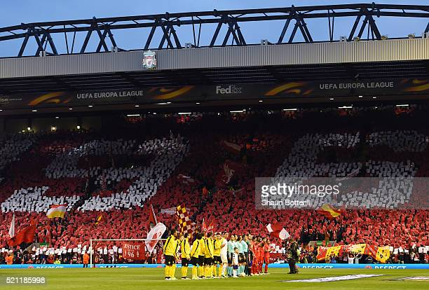 The teams line up as Liverppol fans display the number 96 the number of people who lost their lives in the Hillsborough disaster during the UEFA...