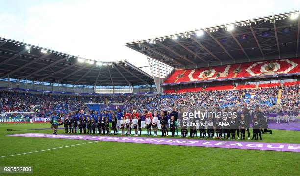 The teams line up at Cardiff city stadium ahead of the UEFA Women's Champions League Final match between Lyon and Paris Saint Germain at Cardiff City...