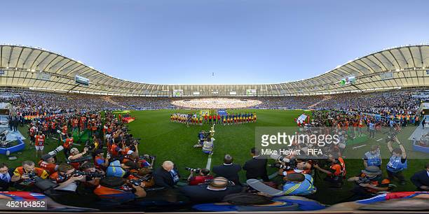 The teams line up before the 2014 FIFA World Cup Brazil final between Germany and Argentina at Maracana on July 13 2014 in Rio de Janeiro Brazil