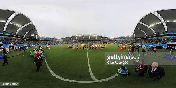 The teams line up before the 2014 FIFA World Cup Brazil Group A match between Mexico and Cameroon at Estadio das Dunas on June 13 2014 in Natal Brazil