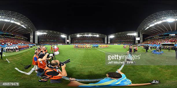 The teams line up before the 2014 FIFA World Cup Brazil Group B match between Chile v Australia at Arena Pantanal on June 13, 2014 in Cuiaba, Brazil.