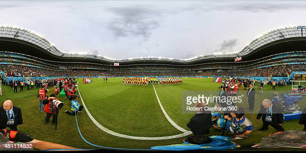The teams line up before the 2014 FIFA World Cup Brazil Group B match between Croatia v Mexico at Arena Pernambuco on June 23 2014 in Recife Brazil