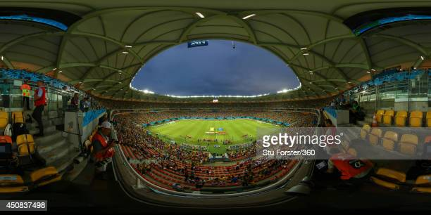 The teams line up before the 2014 FIFA World Cup Brazil Group between Cameroon v Croatia at Arena Amazonia on June 18 2014 in Manaus Brazil