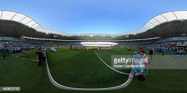 The teams line up before the 2014 FIFA World Cup Brazil Group D match between Uruguay v Costa Rica at Castelao on June 14, 2014 in Fortaleza, Brazil.