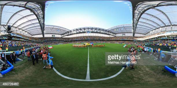 The teams line up before the 2014 FIFA World Cup Brazil Group F match between Iran v Nigeria at Arena da Baixada on June 16 2014 in Curitiba Brazil