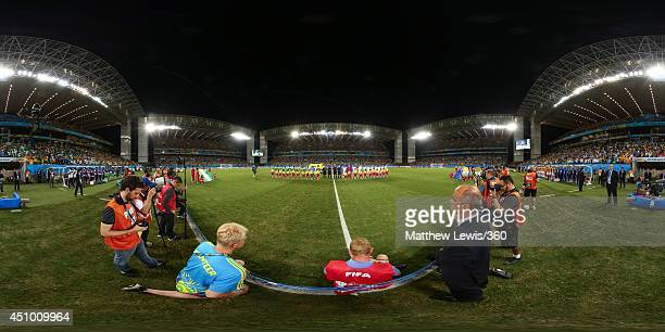 The teams line up before the 2014 FIFA World Cup Brazil Group F match between Nigeria v BosniaHerzegovina at Arena Pantanal on June 21 2014 in Cuiaba...
