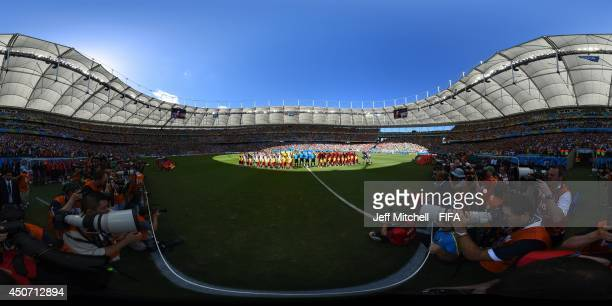 The teams line up before the 2014 FIFA World Cup Brazil Group G match between Germany v Portugal at Arena Fonte Nova on June 16, 2014 in Salvador,...