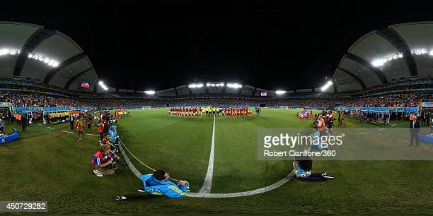 The teams line up before the 2014 FIFA World Cup Brazil Group G match between Ghana v USA at Estadio das Dunas on June 16 2014 in Natal Brazil