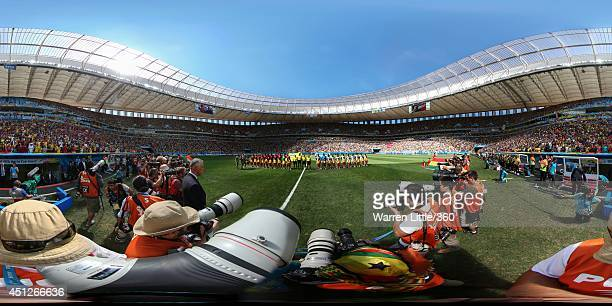 The teams line up before the 2014 FIFA World Cup Brazil Group G match between Portugal v Ghana at Estadio Nacional on June 26 2014 in Brasilia Brazil