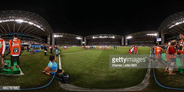 The teams line up before the 2014 FIFA World Cup Brazil Group H match between Russia v Korea Republic at Arena Pantanal on June 17 2014 in Cuiaba...