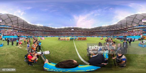 The teams line up before the 2014 FIFA World Cup Brazil Group H match between USA v Portugal at Arena Amazonia on June 22 2014 in Manaus Brazil