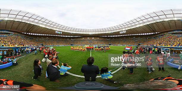 The teams line up before the 2014 FIFA World Cup Brazil Playoff for third place match between Brazil v Netherlands at Estadio Nacional on July 12...