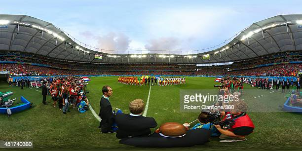 The teams line up before the 2014 FIFA World Cup Brazil quarterfinal match between Netherlands v Costa Rica at Arena Fonte Nova on July 5 2014 in...