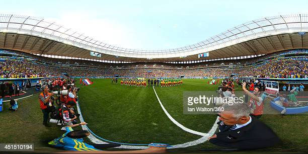 The teams line up before the 2014 FIFA World Cup Brazil Round of 16 match between France and Nigeria at Estadio Nacional on June 30 2014 in Brasilia...