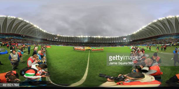 The teams line up before the 2014 FIFA World Cup Brazil Round of 16 match between Germany and Algeria at Estadio BeiraRio on June 30 2014 in Porto...