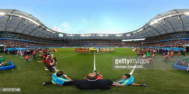 The teams line up before the 2014 FIFA World Cup Brazil Round of 16 match between Belgium v USA at Arena Fonte Nova on July 1 2014 in Salvador Brazil