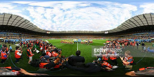 The teams line up before the 2014 FIFA World Cup Brazil semi-final match between Brazil v Germany at Estadio Mineirao on July 8, 2014 in Belo...