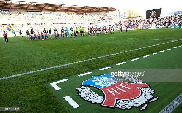 The teams line up before the Allsvenskan League match between Helsingborgs IF and AIK Solna at the Olympia Stadium on May 22012 in HelsingborgSweden